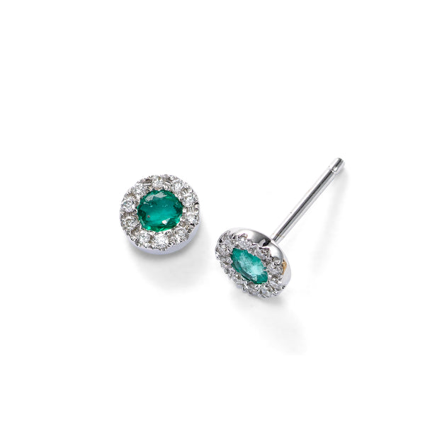 Round Emerald and Diamond Stud Earrings, 14K White Gold