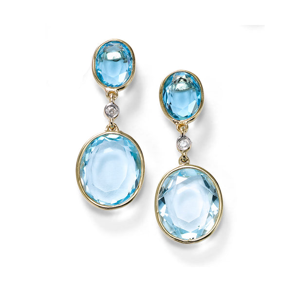 Oval Blue Topaz Drop Earrings with Diamond Accent, 14K Yellow Gold