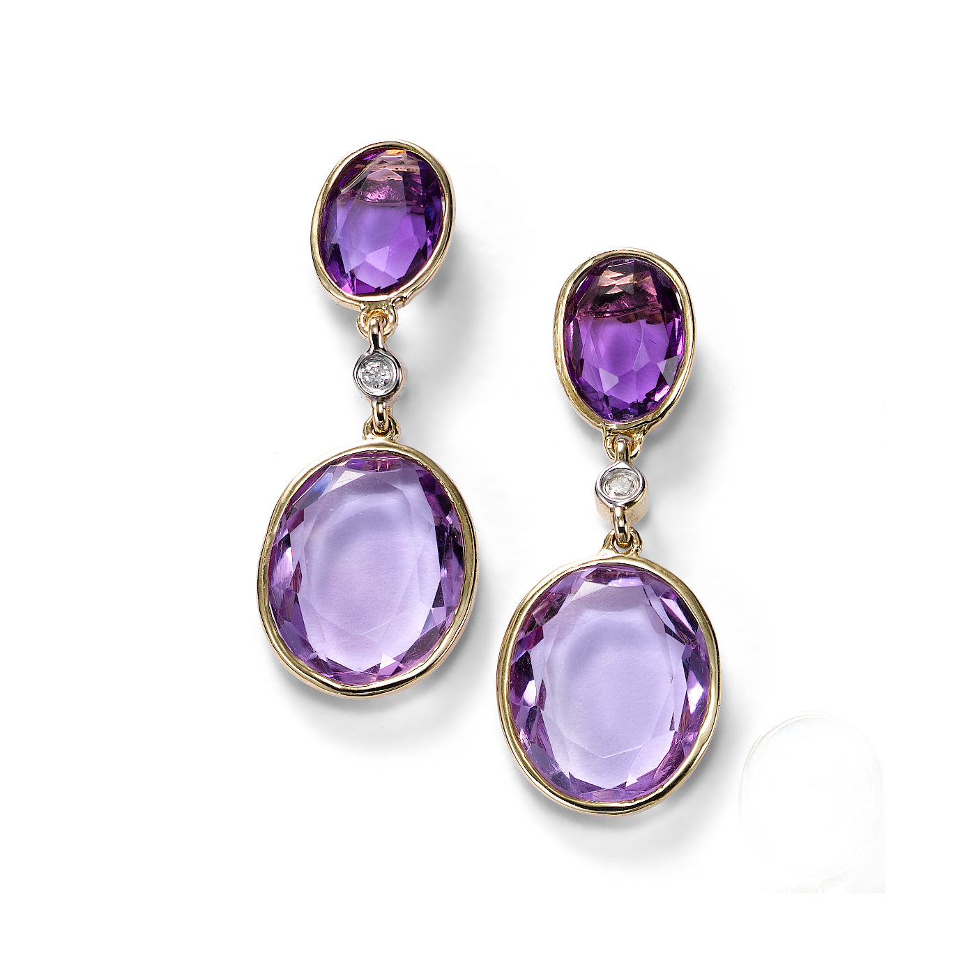Oval Amethyst Drop Earrings with Diamond Accent, 14K Yellow Gold