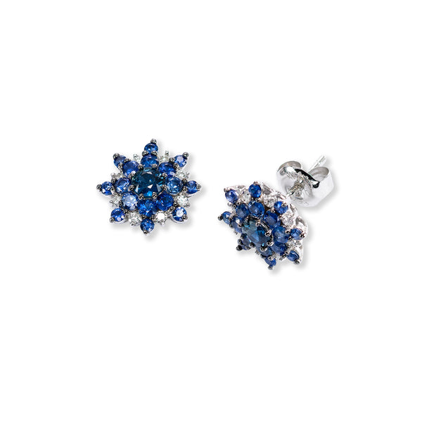 Blue Sapphire and Diamond Starburst Earrings, 14K White Gold