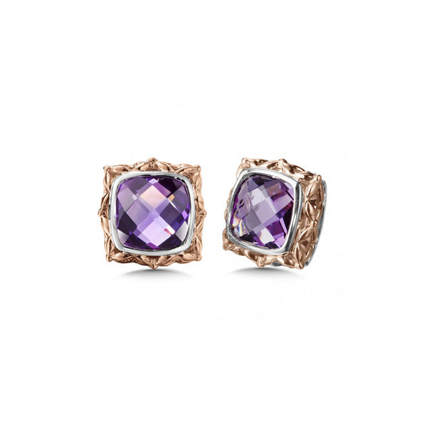 Framed Cushion Cut Amethyst Earrings, Sterling Silver and Rose Gold