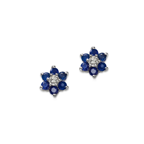 Blue Sapphire and Diamond Flower Earrings, 14K White Gold