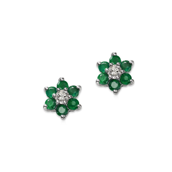 Emerald and Diamond Flower Earrings, 14K White Gold