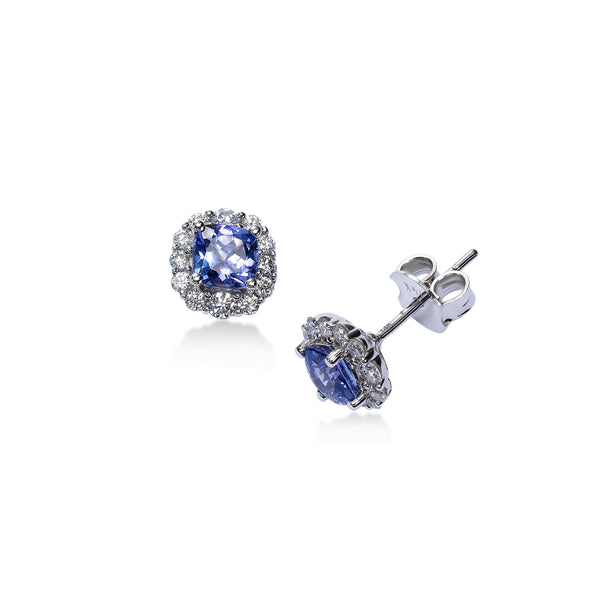 Round Tanzanite and Diamond Halo Earrings, 14K White Gold