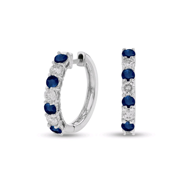 Sapphire and Diamond Hoop Earrings, 14K White Gold
