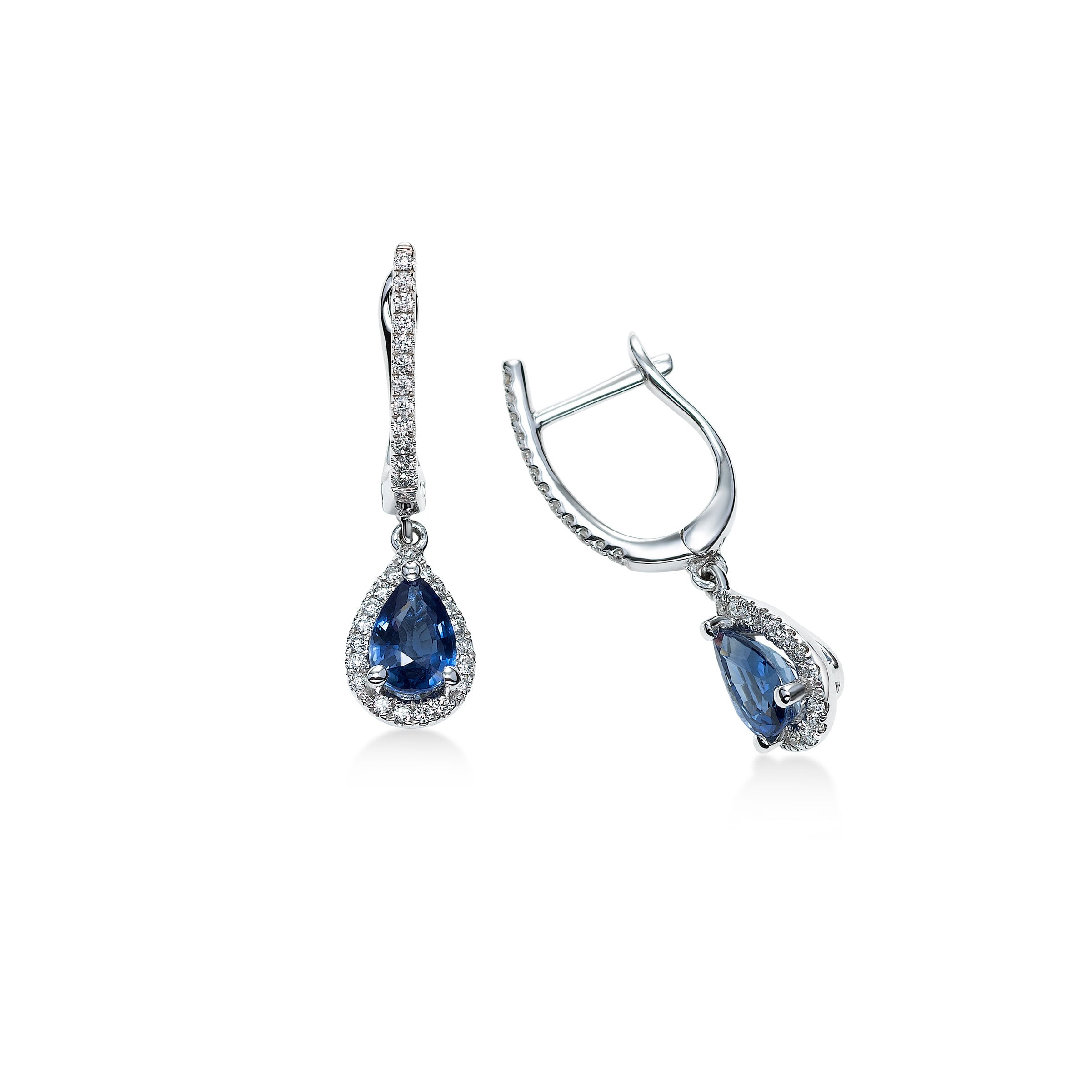 Pear Shaped Sapphire and Diamond Drop Earrings, 14K White Gold
