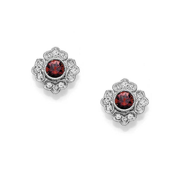 Vintage Style Ruby and Diamond Earrings, 14K White Gold