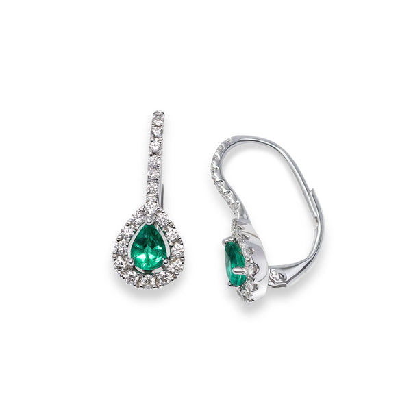Pear Shaped Emerald and Diamond Halo Earrings, 18K White Gold
