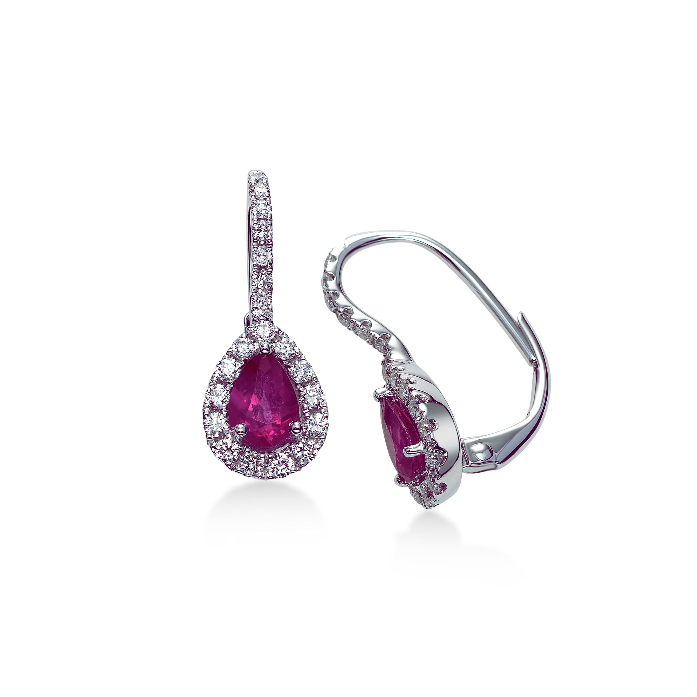 Pear Shaped Ruby and Diamond Halo Earrings, 18K White Gold