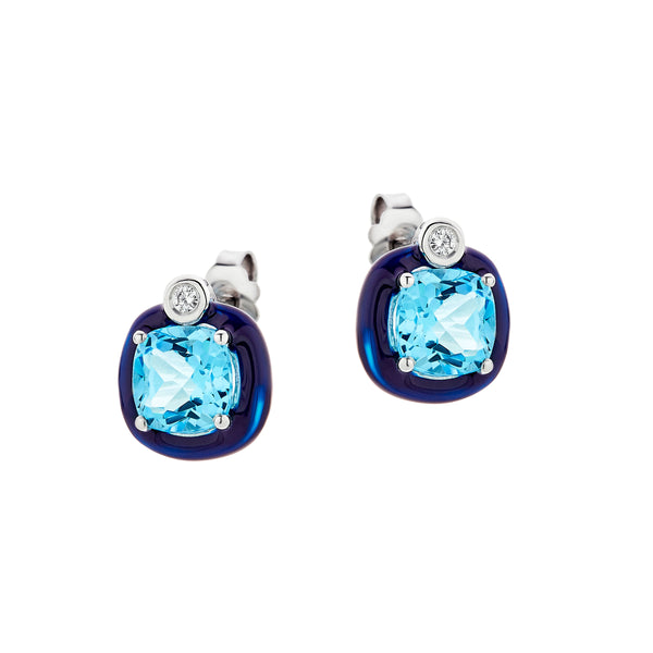 Blue Topaz Earrings with Black Enamel Frame, 18K White Gold