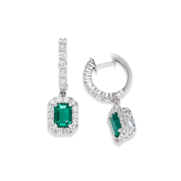 Faceted Emerald and Diamond Halo Earrings, 14K White Gold