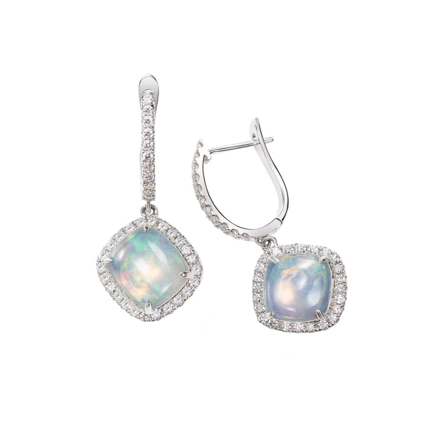 Cabachon Opal and Diamond Halo Drop Earrings, 14K White Gold