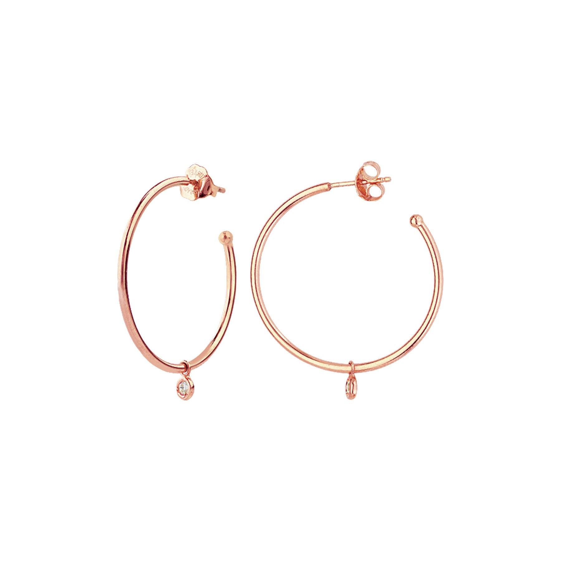 Hoop Earrings with Small Diamond Dangle, 1 Inch, 14K Rose Gold