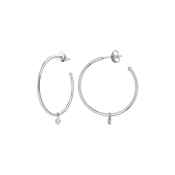 Hoop Earrings with Small Diamond Dangle, 1 Inch, 14K White Gold