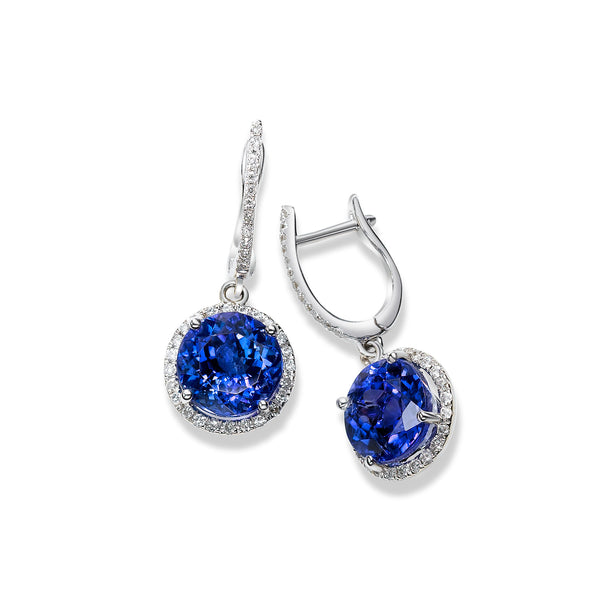 Round Tanzanite and Diamond Halo Drop Earrings, 18K White Gold