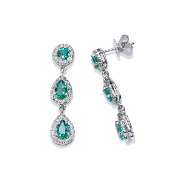 Multishape Emerald and Diamond Dangle Earrings, 14K White Gold