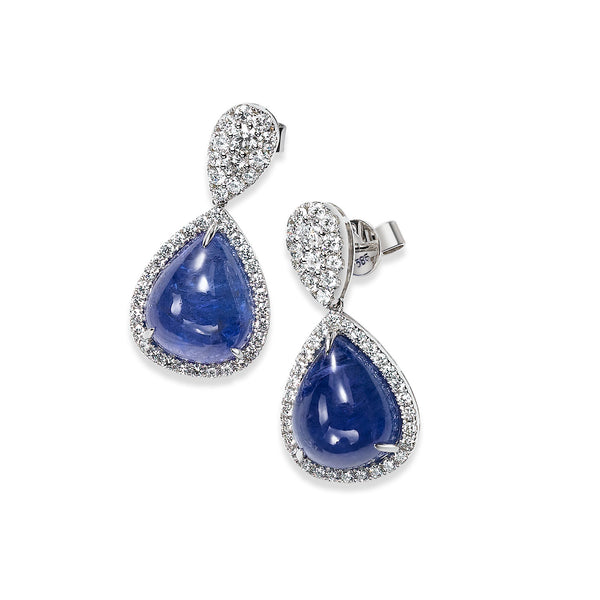 Cabachon Tanzanite and Diamond Halo Drop Earrings, 14K White Gold