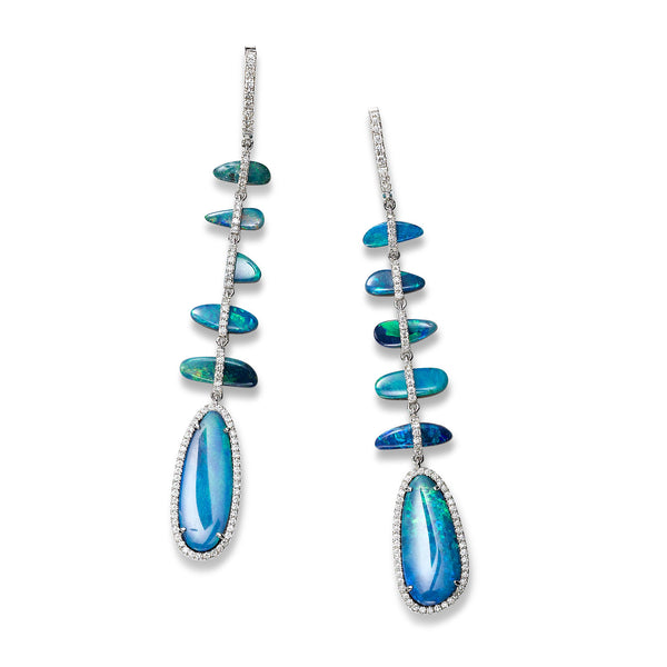 Blue Opal and Diamond Dangle Earrings, 18K White Gold
