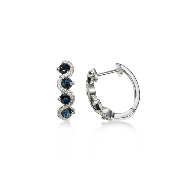 Blue Sapphire and Diamond Hoop Earrings, 14K White Gold