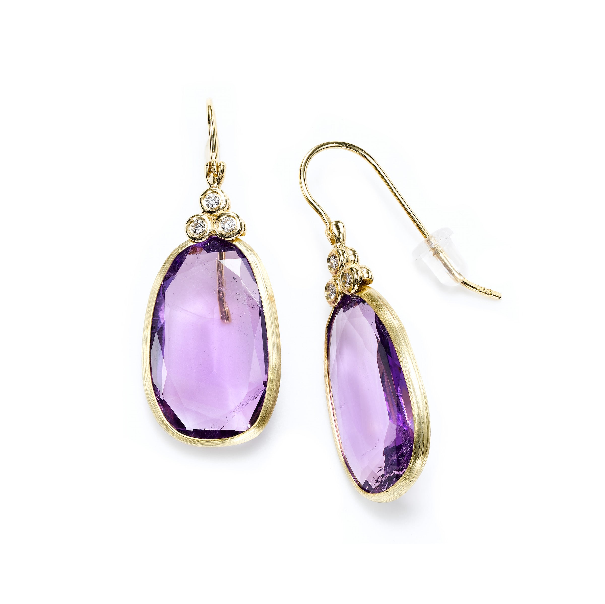 Oval Amethyst Dangle Earrings with Diamond Accent, 14K Yellow Gold