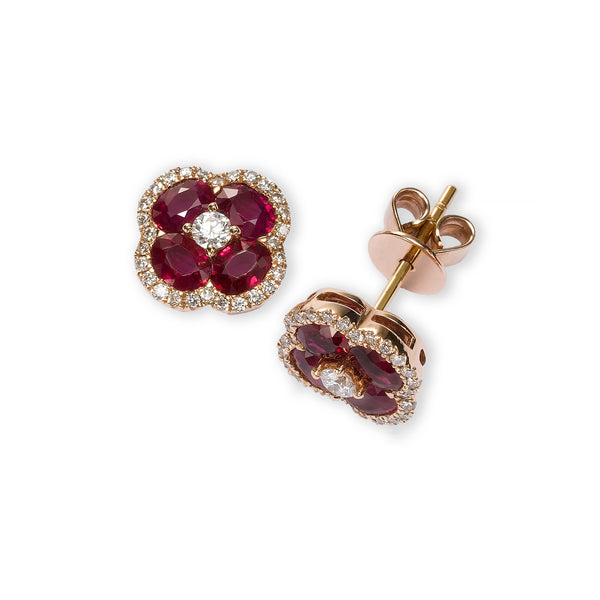 Ruby and Diamond Flower Earrings, 14K Rose Gold