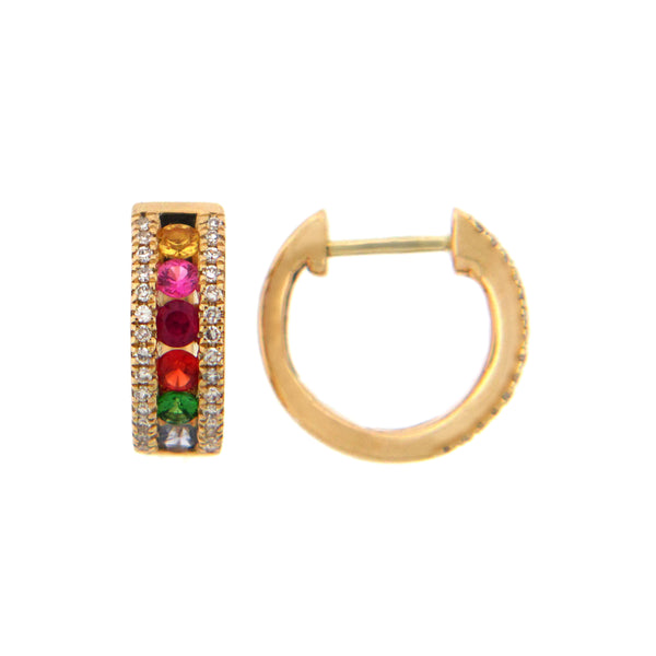 Rainbow Gemstone and Diamond Hoops, .50 Inch, 14K Yellow Gold