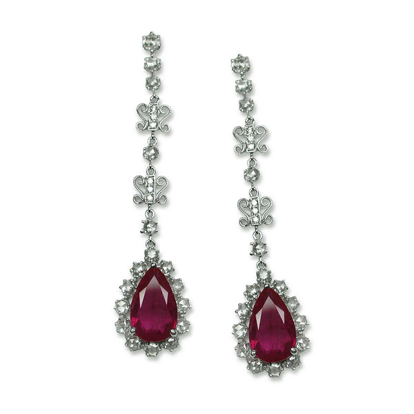 Vintage Style Ruby and Diamond Dangle Earrings, 18K White Gold