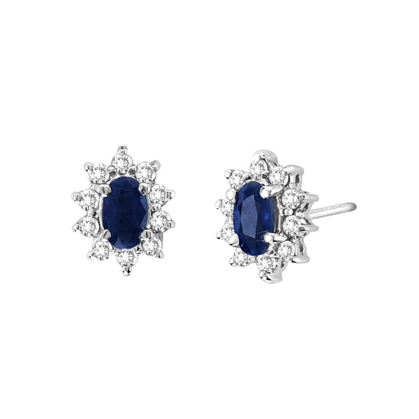Oval Sapphire and Diamond Earrings, 14K White Gold