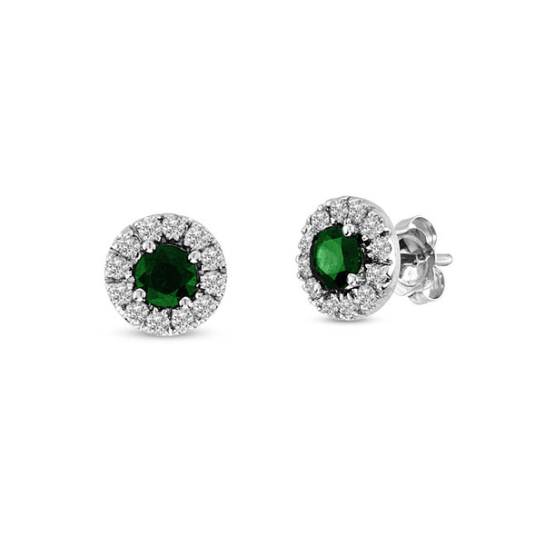 Round Emerald with Diamond Halo Earrings, 14K White Gold
