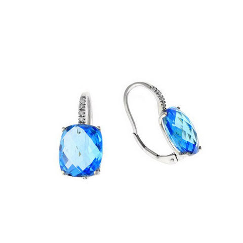 Faceted Blue Topaz and Diamond Drop Earrings, 14K White Gold