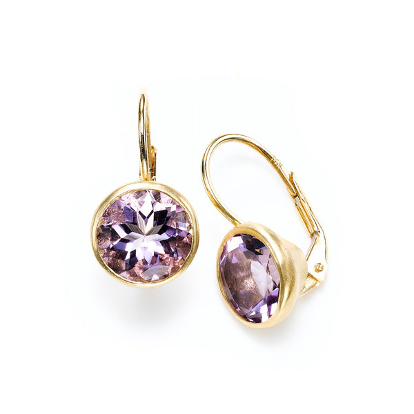 Bezel Set Amethyst Drop Earrings, 14K Yellow Gold