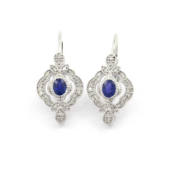 Vintage Style Sapphire and Diamond Earrings, 14K White Gold