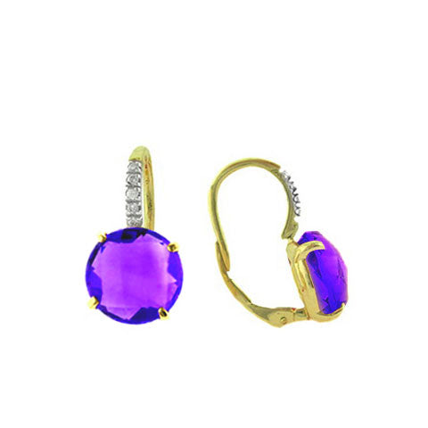 Faceted Amethyst and Diamond Drop Earrings, 14 Karat Gold