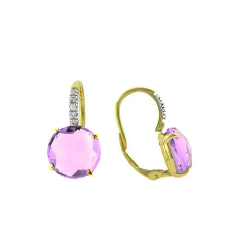 'Lavender Amethyst' and Diamond Drop Earrings, 14K Yellow Gold