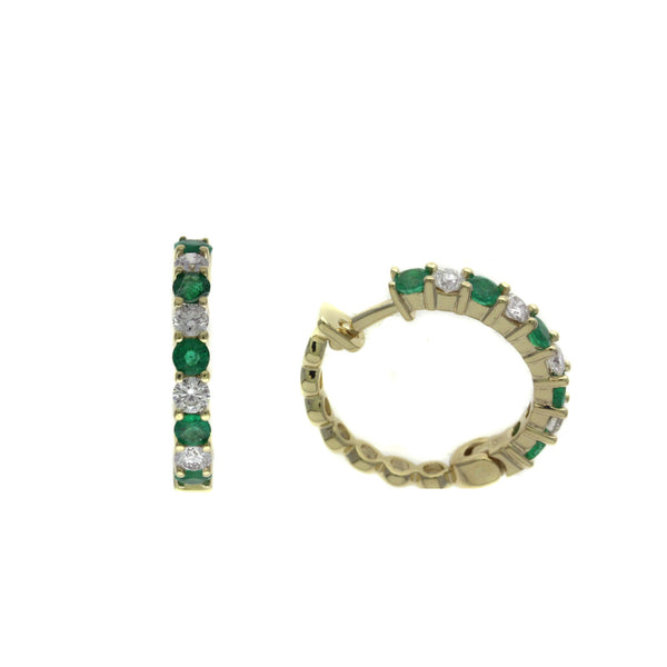 Emerald and Diamond Hoop Earrings, 14K Yellow Gold