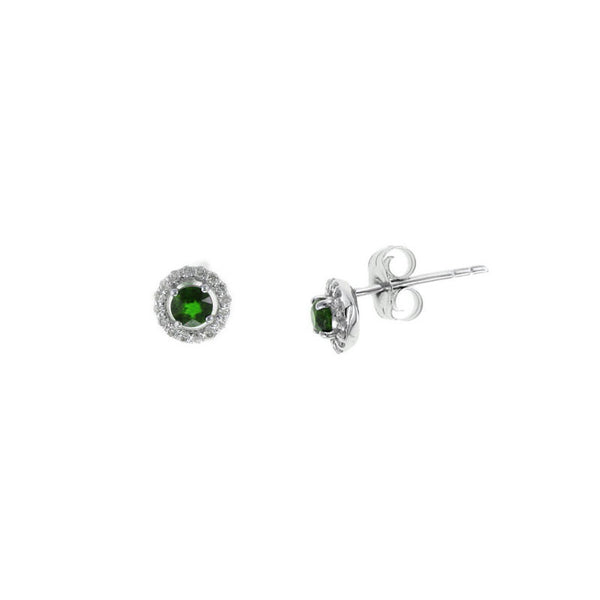 Petite Emerald and Diamond Halo Stud Earrings, 14K White Gold