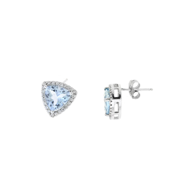 Triangular Aquamarine And Diamond Halo Earrings, 14K White Gold