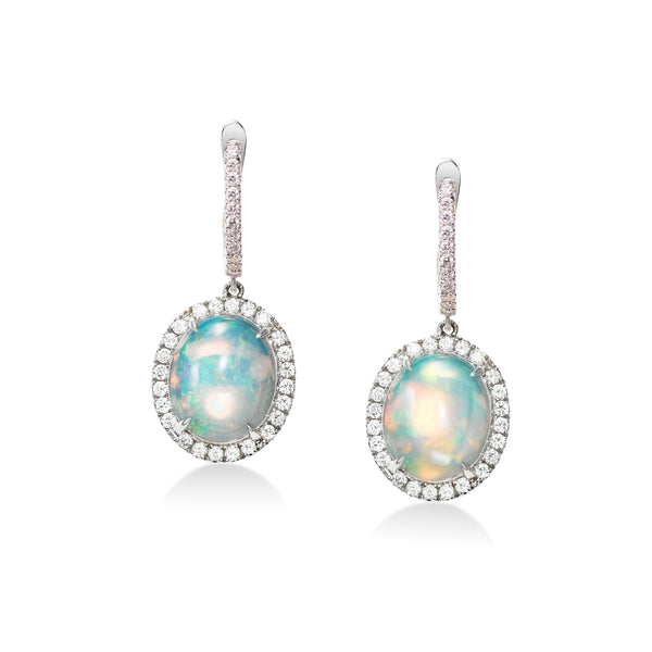 Oval Cabochon Opal and Diamond Halo Drop Earrings, 14K White Gold