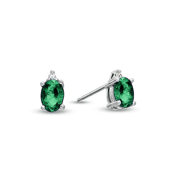Oval Emerald Stud Earrings, 14K White Gold