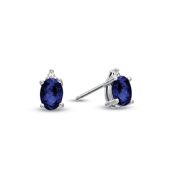 Oval Sapphire Stud Earrings, 14K White Gold