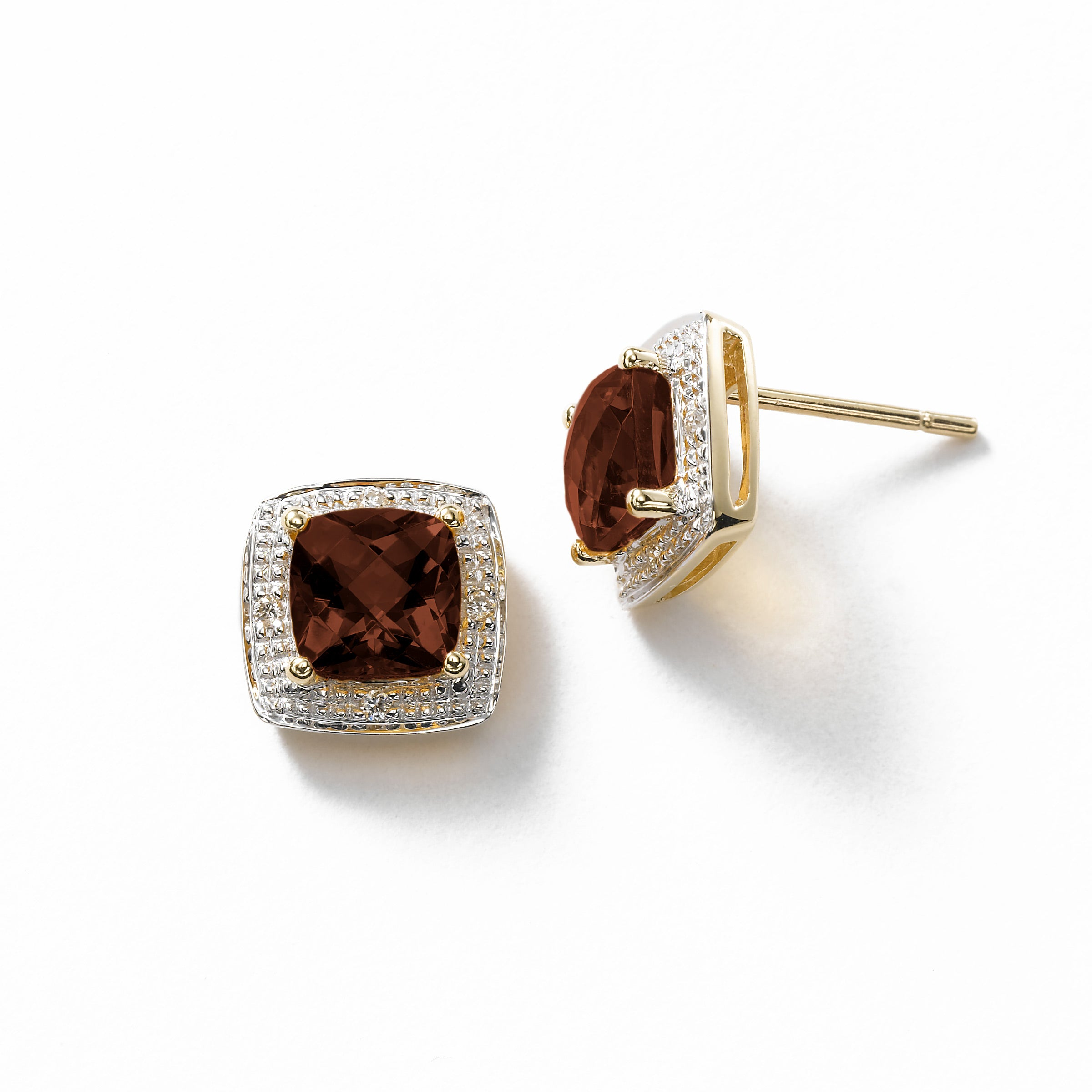 Square Garnet and Diamond Halo Earrings, 14K Yellow Gold