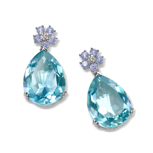Blue Topaz, Iolite and Diamond Drop Earrings, 14K White Gold