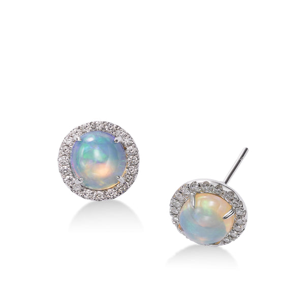 Round Cabochon Opal and Diamond Halo Button Earrings, 14K White Gold