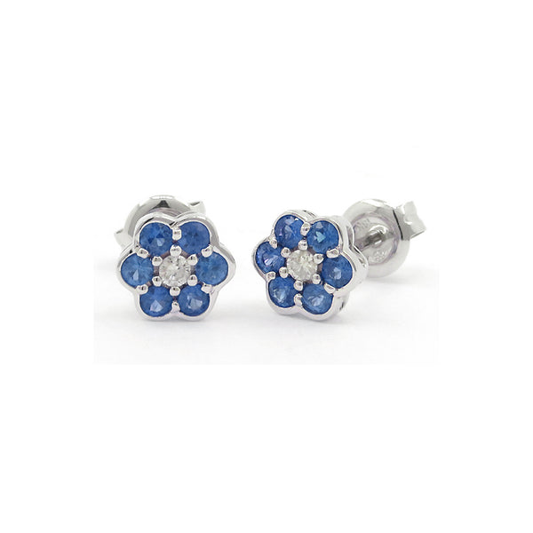 Sapphire and Diamond Flower Earrings, 14K White Gold