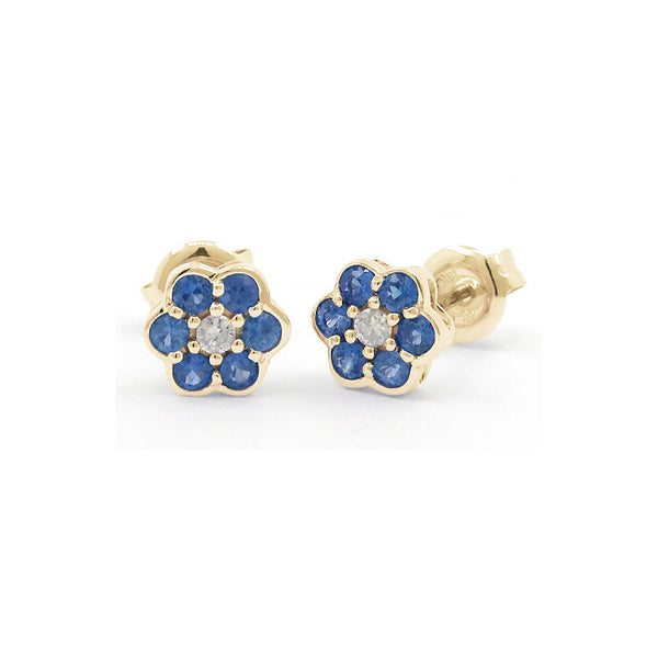 Sapphire and Diamond Flower Earrings, 14K Yellow Gold