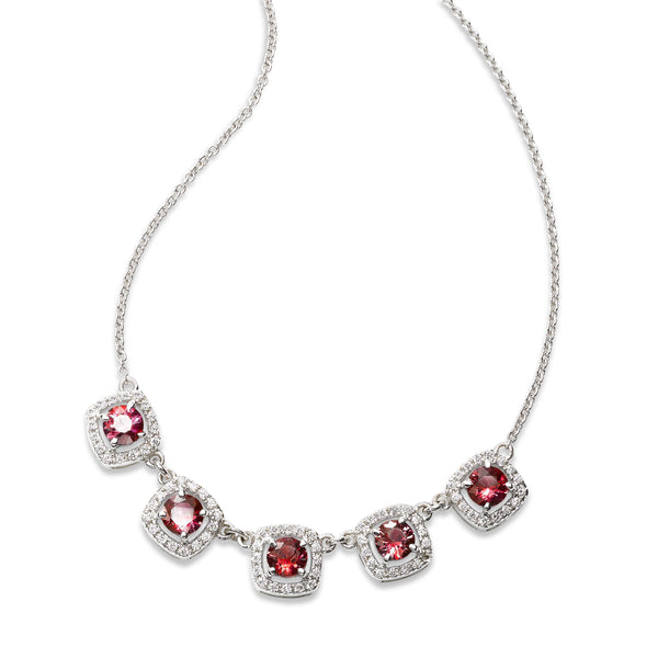 Five Ruby and Diamond Halo Necklace, 14K White Gold