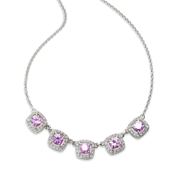 Five Pink Sapphire and Diamond Halo Necklace, 14K White Gold
