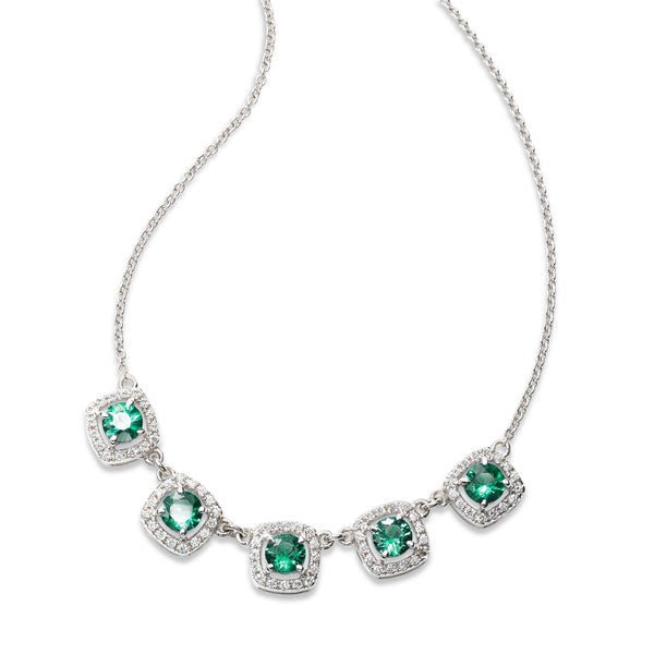 Five Emerald and Diamond Halo Necklace, 14K White Gold