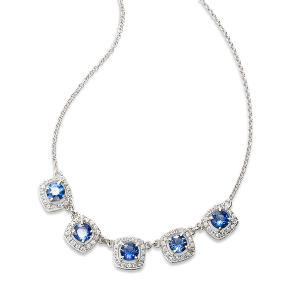 Five Blue Sapphire and Diamond Halo Necklace, 14K White Gold