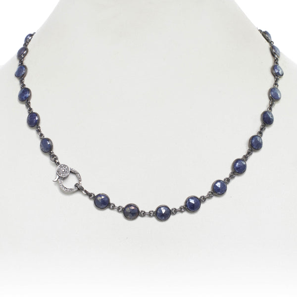 Blue Moonstone Necklace with Diamond Clasp, 18 Inches, Sterling Silver